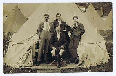 Young Men at Tent in Camp RP Postcard c1920 Glasgow Photographer, Unused
