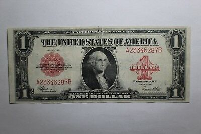 1923 Red Seal One Dollar United States Note A23346287B