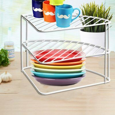 3 Tier White Steel Corner Kitchen Plates Rack Tidy Cupboard Organizer Storage Sp & WHITE STEEL 3 Tier Corner Plate Stand Stacker Holder Storage Rack ...