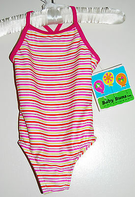 NWT Baby Buns Infant Girls One-Piece Candy Pink Striped Swimsuit 18M