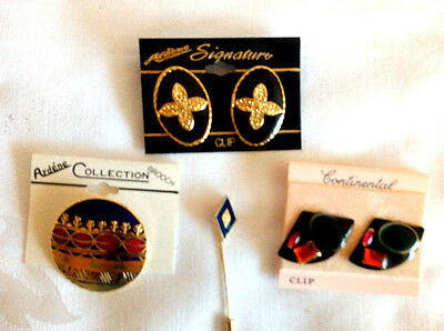 Sets of 2 Pair of Earrings On Cards Gold Color Enameled Brooch & Pin NEW