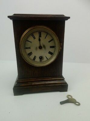 Antique Vintage Oak Cased Mantel Clock Time Piece With Winding Key