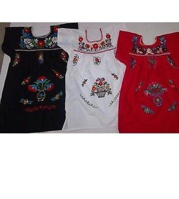 Girls mexican puebla dress embroidered with multicolor flowers