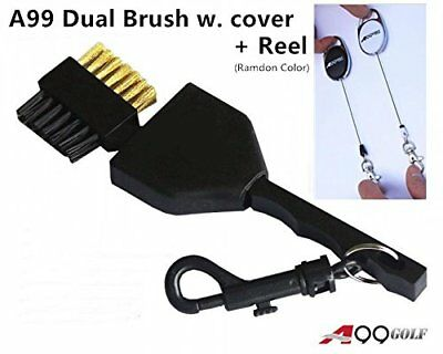 A99 Golf Dual Side Golf Club Brush Cleaner Ball Cleaning with Clip Plastic and +