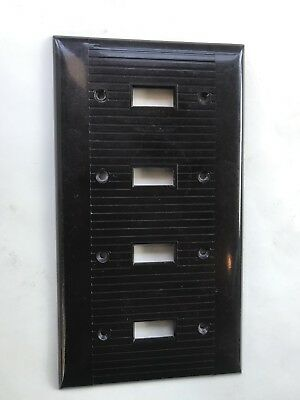 1 Vintage Sierra Electric Brown Ribbed 4 Gang Deco Light Switch Wall Plate