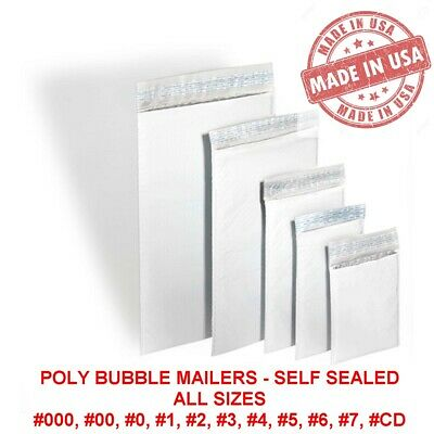 Poly Bubble Mailers Padded Envelopes #0 #1 #2 #3 #4 #5 #6 #7 #00 #000 USA MADE