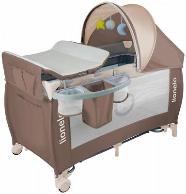 Baby Bed Lionelo Sven Plus Brown Baby changing + Rocking mode + Mosquito + Music