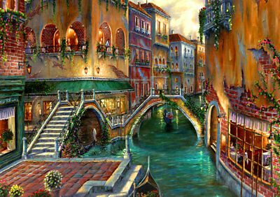 Best gift Home Decor Bridge Venice Oil painting Art wall Picture Print on canvas