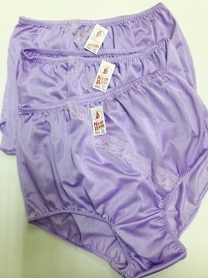 3X Lacy vintage style silky full panties briefs knickers gusset purple nylon  XL b7a3b86e1
