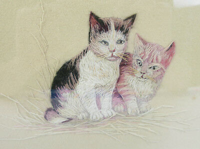 Antique Embroidery Cats Picture Gesso Gilt Wood Frame Needlework Kitten Folk Art