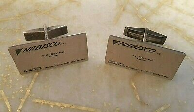 Nabisco Sterling Silver Cuff Links & Tie Bar Clip, Mini Business Card, Doskow