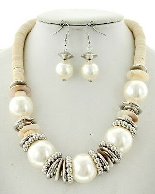 White Wood Cream Synthetic Pearl Necklace &  Earring Set
