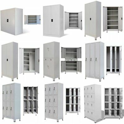 Metal Storage Office Cabinet Locker Cupboard Shelves Furniture Grey Steel New