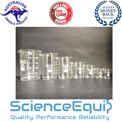 Glass Beaker Research Grade Borosilicate 10,25,50,100,250ml 1 each KIT 5pc/SET