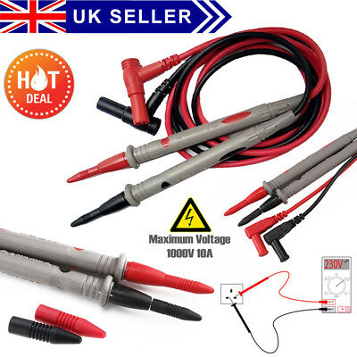 Multimeter Probe Test Leads Cable Multifunction 10A Digital Clips Alligator UK