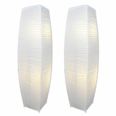 Set of 2 ALUMNI Chrome Floor Lamp With White Paper Shades Stainless Steel Body