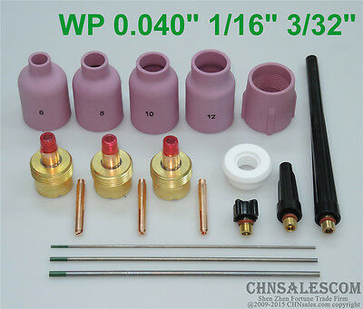 18 pcs TIG Welding Torch Gas Lens Kit Lengthened Nozzle WP-17//18//26 WZ8 1.0-2.4