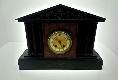 """Antique French Black Marble Slate Mantel Clock 17"""" Wide 12 1/2"""" Tall Roman Theme"""