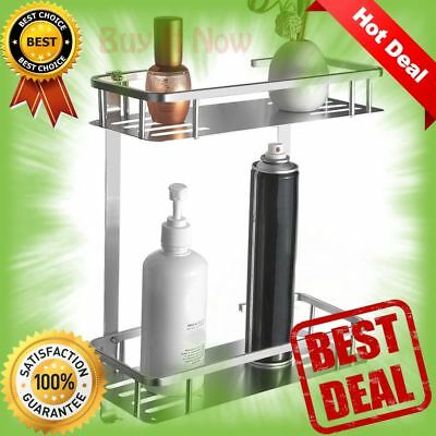 NEW TIANG-Aluminium Two Tier Wall Hanging Rectangle Bathroom Shelf FREE SHIPPING