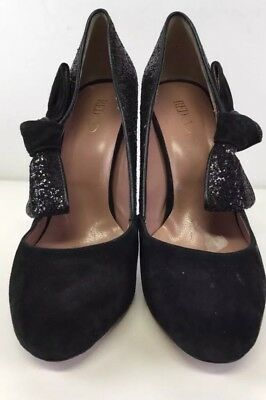 Valentino Red Black Suede & Glitter Side Bow Pumps Size 36