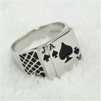 Mens Poker Stainless steel Silver Ace of Spades Casino Card Ring ^_^