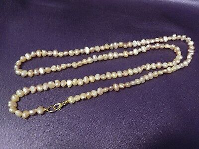 """Blush Pink Freshwater 5mm-6mm Pearl Strand Gold Tone 30"""" Necklace"""