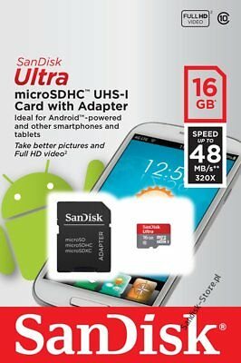 16GB SanDisk  Ultra 320x 48MB/s Class 10 UHS-I Micro SD SDHC Memory Card WG