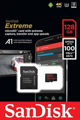 Sandisk 128Gb Extreme Class 10 U3 A1 100Mb/s Micro Sdxc Sd Xc Memory Card Wg