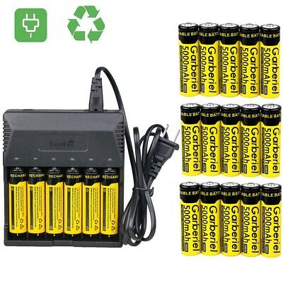 Lot 5000mAh Li-ion 3.7V 18650 Rechargeable Batteries for Torch Flashlight