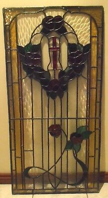 Original Handmade Transom Stained Glass Panel Leadlight Window- Heaven's Gate