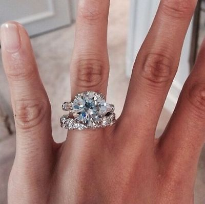 Certified 5.50ct Round Diamond Engagement Wedding Ring in Real 14K White Gold