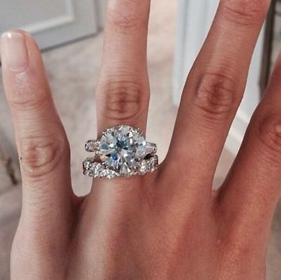 Certified 5.50ct Round Lab Diamond Engagement Wedding Ring in 14K White Gold
