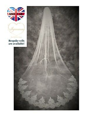 Wedding Veil *Cathedral Length*1 Tier*Off white/ Ivory*Wide Corded Lace O*