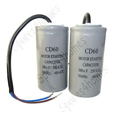 200uf 300uf CD60 250VAC Pre-Wired Cable Start Run Capacitor For Generator