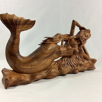 """MERMAID Hand Carved From Mahogany Wood With Amazing Details(20""""W By 11"""" H By 4""""D"""