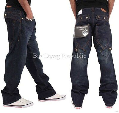 Rocawear Mens Loose Fit Double Band Hip Hop Denim Jeans Money Time Is Skater