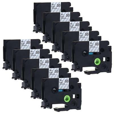 TZe-135 TZ135 P-Touch Label Tape Compatible for Brother White on Black 12mm 10pk
