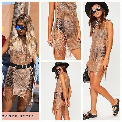 Ibiza Rose Gold Metallic Chain Knitted Distressed Side Split Cover Up Dress