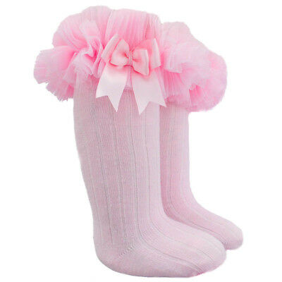 Girls Tutu Frilly Spanish Style Knee High or Ankle Socks Satin Bow 0-18 months