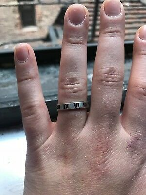 a1c77e5db Tiffany & Co Sterling Silver Atlas Open Roman Numeral Narrow Band Ring size  7