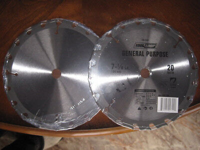 "2 qty. General Purpose 7 1/4"" 20 Teeth C2 Carbide Blade Free Shipping"