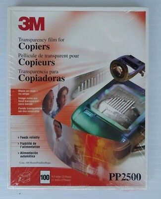"""3M PP2500 (100 SHEETS) Transparency Film For Copiers  8.5"""" x 11""""  - SEALED"""