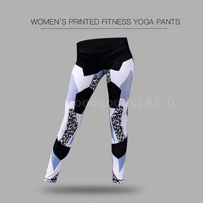 Women's Printed Compression Yoga Pants Active Workout Leggings Stretch T9P6