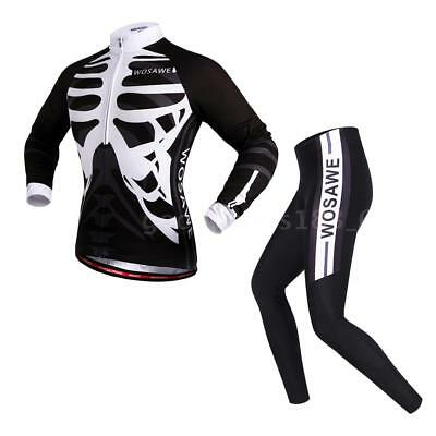 WOSAWE Men's Long Sleeve Cycling Jersey Sets Breathable 4D Padded Pants F8M1