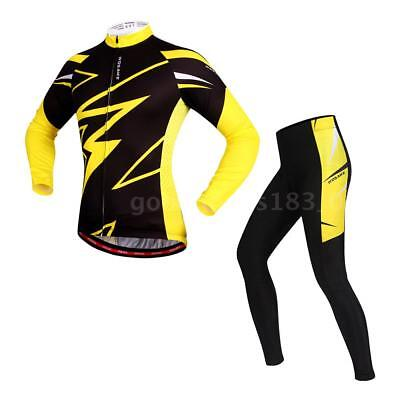 WOSAWE Men's Long Sleeve Cycling Jersey Sets Breathable 4D Padded Pants D3H4
