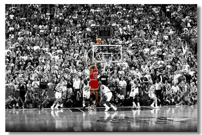 "NEW Michael Jordan The Last Shot Art Poster Wall Print 36""x24"" in Sport Picture"