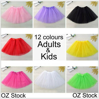Womens Adults Girls Kids Baby Children Tutu Skirt Party Costume Ballet Dancewear