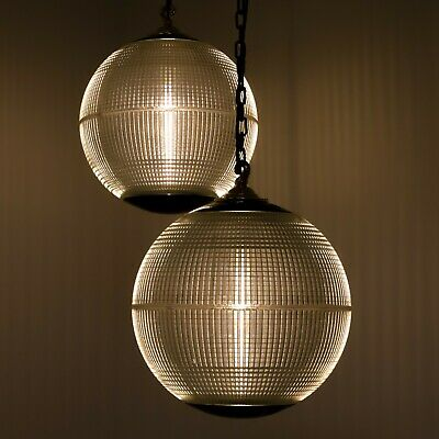 Vintage French Antique Parisian Prismatic Holophane Globe Pendant Ceiling Lights