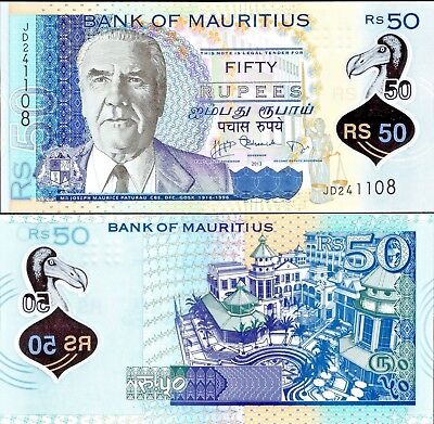 Mauritius 2013 , 50 Rupees , Polymer Note UNC , 1st Polymer