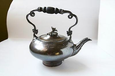 Antique Teapot, Art Nouveau Silver Plated Alpaca V.M.F. Wood handle 19th century